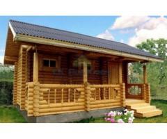 Строительство дачных домов, бань из бревна, из бруса или каркасных бань.